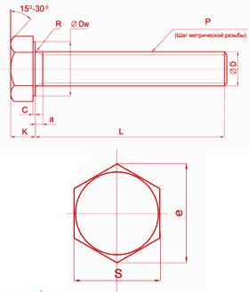 Болт с шестигранной головой DIN 933
